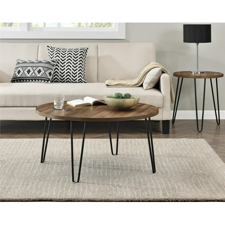 Round Walnut Activity Table - Ameriwood Home Owen Retro Round Coffee Table, Multiple Colors