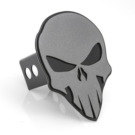 All Sales 1042AMK Trailer Hitch Cover; Anthracite On Black; 2 in.; Skull Style; - Sale Back