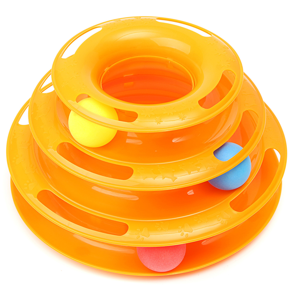 Asewin Cat Kitty Tower of Tracks Cat Toy Interactive Three Levers Pet Toy Amusement Plate Crazy Ball Disk Cat... by
