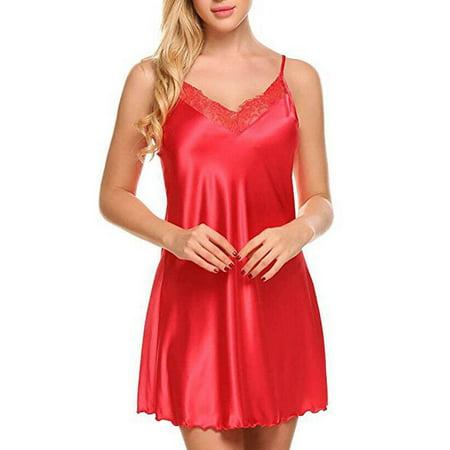 New Women Sexy Satin Lingerie Nightwear Sleepwear Dress Lace Babydoll Dress Red S