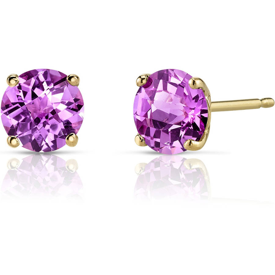 Oravo 2.25 Carat T.G.W. Round-Cut Created Pink Sapphire 14kt Yellow Gold Stud Earrings by Oravo
