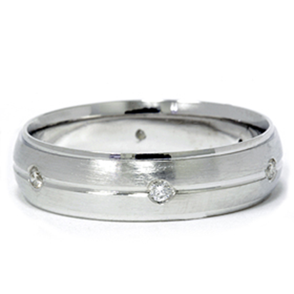 Mens 950 Platinum Diamond Brushed Wedding Ring Band by Pompeii3