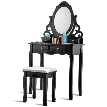 4 Drawers Flower-shaped Vanity Mirror Makeup Dressing Table Set