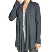 DailyWear Women's Open-Front Soft Draped Long Sleeve Cardigan Sweater Longline Tunic (D/Gry, 2XLarge)