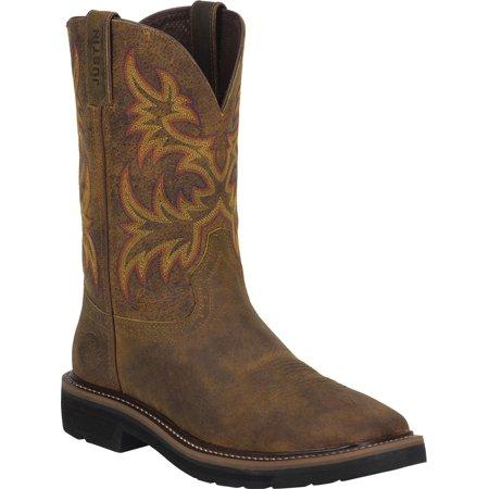 Justin Men's Rugged Tan Cowhide Stampede Work Boots Justin Ladies Rustic Cowhide