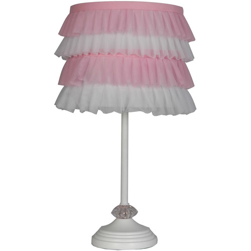 Gentil Mainstays Pole Lamp With Pink And White Ruffled Shade