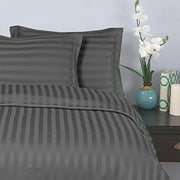 """Elegant Comfort Wrinkle & Fade Resistant 1500 Thread Count - Damask STRIPES Silky Soft 4-Piece Sheet Set, Up To 16"""" Deep Pocket, Queen, Gray"""