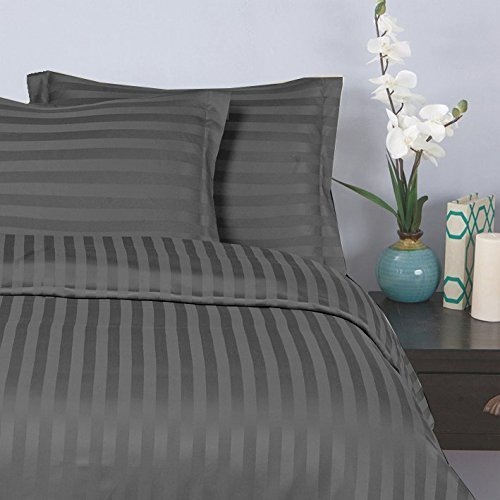 "Elegant Comfort® Wrinkle & Fade Resistant 1500 Thread Count - 6PC Damask STRIPES  Silky Soft 4-Piece Sheet Set, Up To 16"" Deep Pocket, Queen, Gray"