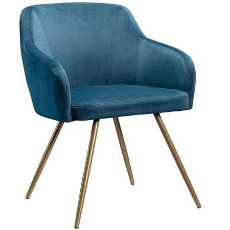 Sauder International Lux Velvet Accent Chair in Blue and Satin