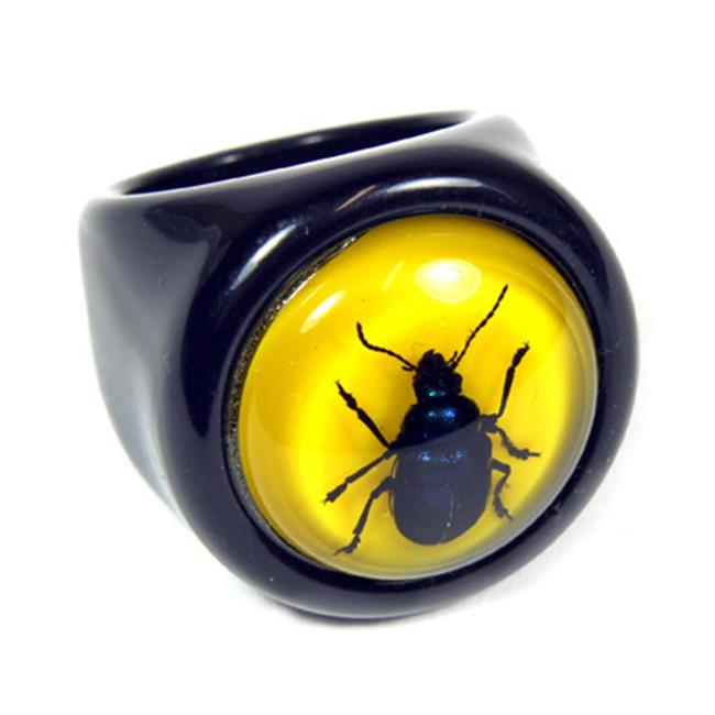 ED SPELDY EAST R0016-7 Ring  Blue Beetle  Black Ring with Yellow Back  Size 7