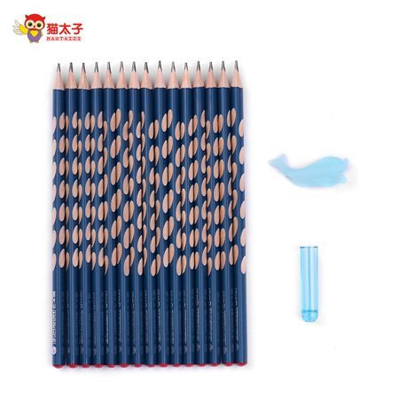 MAOTAIZI Special Design Hole HB Pencil School Supplies Wood Triangle Pencils Packs Bulk Pencils Presharpened for Kids Writing Posture Correcting Set of Grip/Cap/10pcs Pencils Dark Blue ()