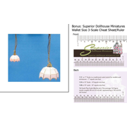 Dollhouse Miniature Scale White-tiffany Hanging Lamp 1 2 Scale w 3-Scale Wallet Ruler