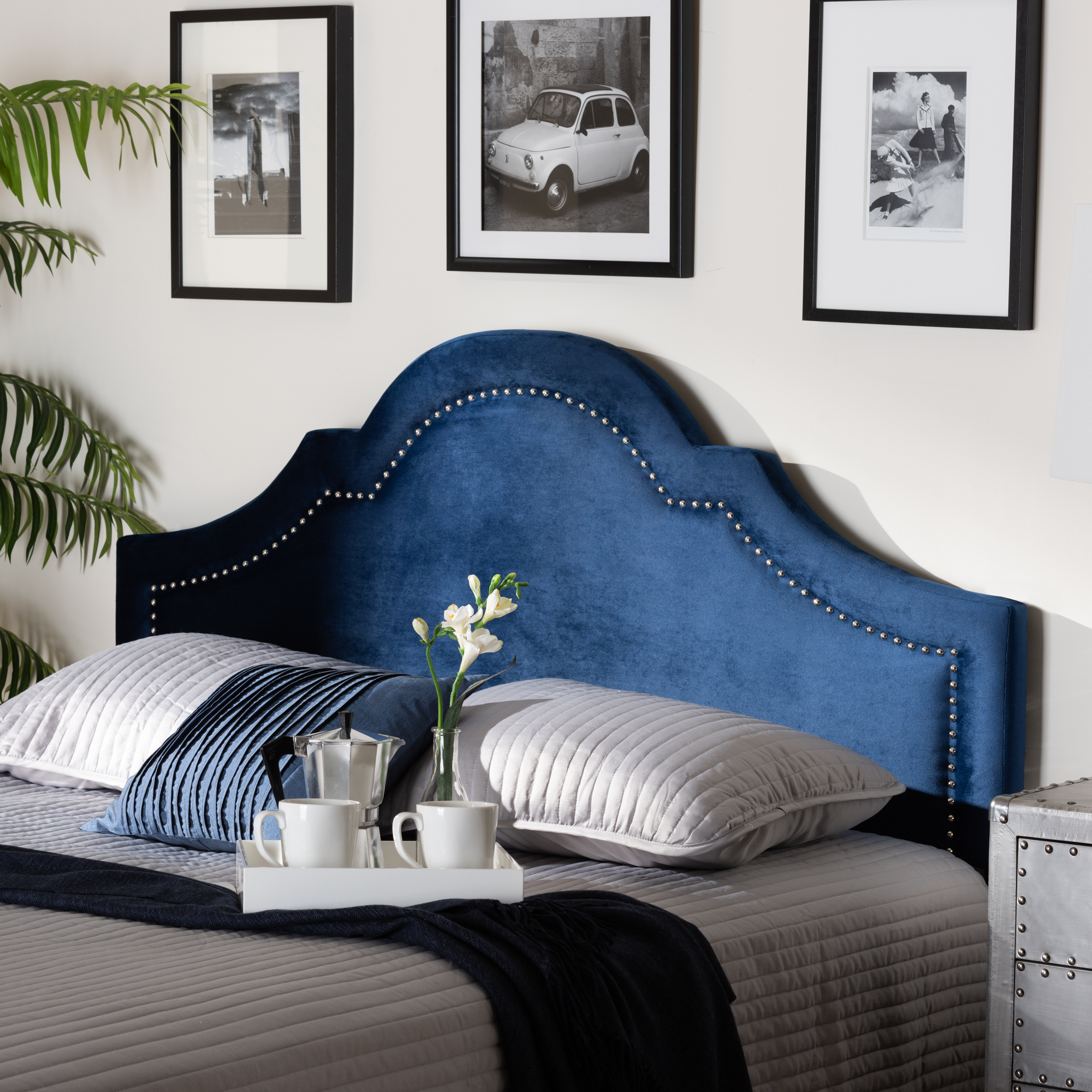 Baxton Studio Rita Modern and Contemporary Navy Blue Velvet Fabric Upholstered King Size Headboard