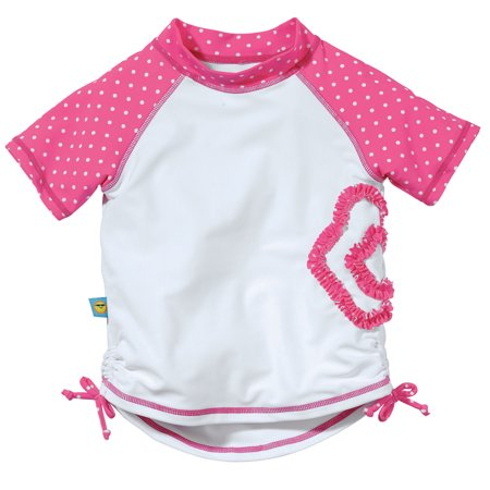 Sun Smarties Baby Girl Rashguard - Pink and White Polka Dots - UPF 50+ Short Sleeve Swim Shirt