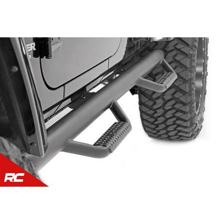 Rough Country Nerf Bar Hoop Steps compatible w/ 2007-2018 Jeep Wrangler JK 4DR Drop Side Steps Rock Sliders 90764