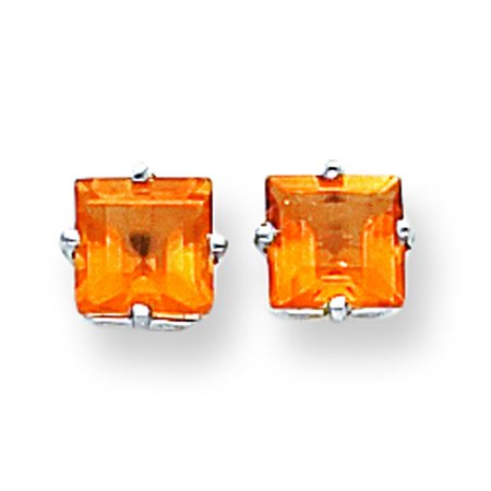 14k White Gold Princess Cut Citrine Earrings Jewelry