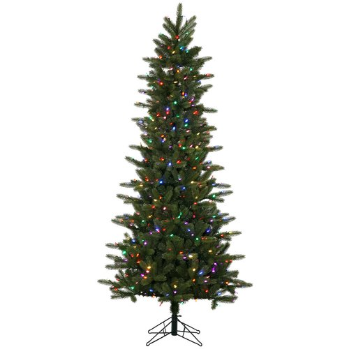 The Holiday Aisle Kennedy Slim 6.5' Green Fir Artificial Christmas Tree with 400 LED Multi-Colored Lights with Stand