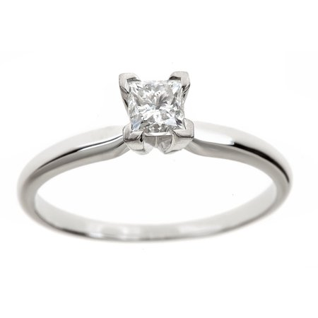 - 1/2 Carat T.W. Genuine Princess White Diamond 14kt White Gold Solitaire Ring, IGL Certified