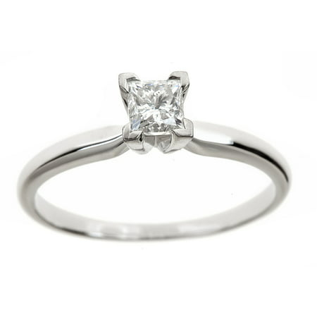 Certified Diamond Solitaire Ring - 1/2 Carat T.W. Genuine Princess White Diamond 14kt White Gold Solitaire Ring, IGL Certified