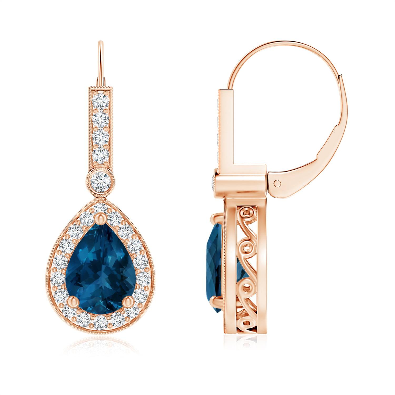Angara London Blue Topaz Leverback Drop Earrings in Rose Gold vTJqb