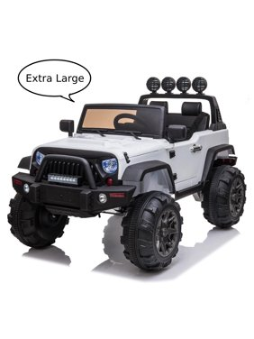Ktaxon 12V Kid 3-Speed Ride On Car Remote Control Truck with Storage Box MP3 LED Lights,White