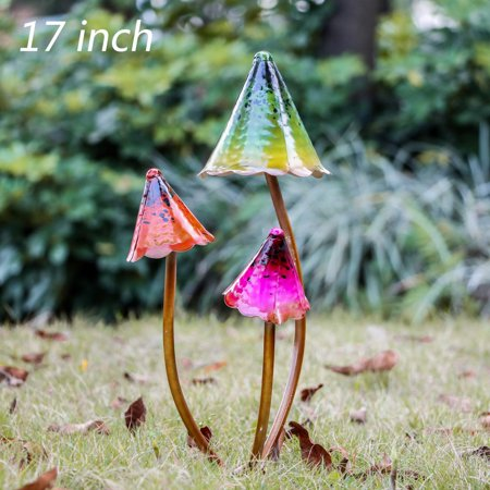 17 inch Outdoor Metal Mushroom Fairy Garden Statues Accessories, Outdoor Statues Figurines with Coating Craft Decorations ()