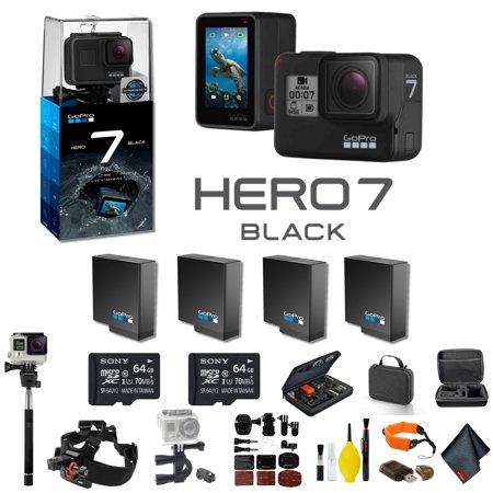 - GoPro HERO7 Black Action Camera With 3 Extra Battery, External Charger, 2 64GB Memory Card, Case, Chest Mount, Handle Bar Mount, Selfie Stick, Floating Strap, and More.- 4 Battery Bundle