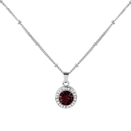 Lux Accessories Garnet Siam January Birthstone Pendant Disc Pave Charm Pendant Necklace Birthday Stone - Pave Butterfly Charm