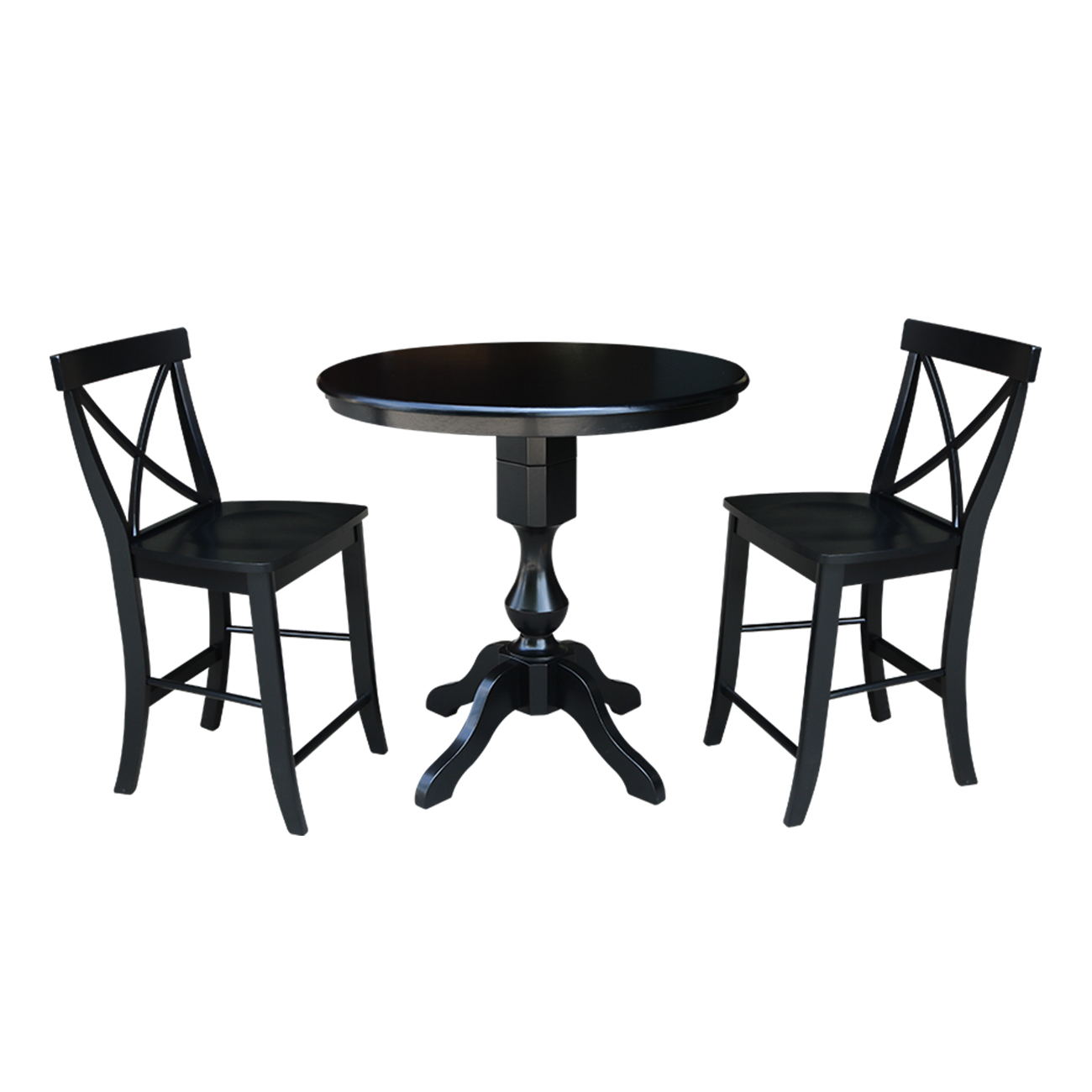 "36"" Round Top Counter Height Table with 2 X-Back Stools - Black - 3 Piece Set"