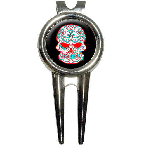 Mexican Day of the Dead Skull Golf Divot Repair Tool and Ball Marker