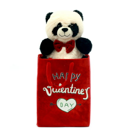 Valentine's day stuffed panda with fabric gift bag for $<!---->