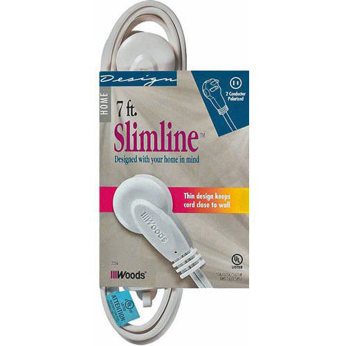 SlimLine 2236 Flat Plug Extension Cord, 2-Wire, 7-Foot, White