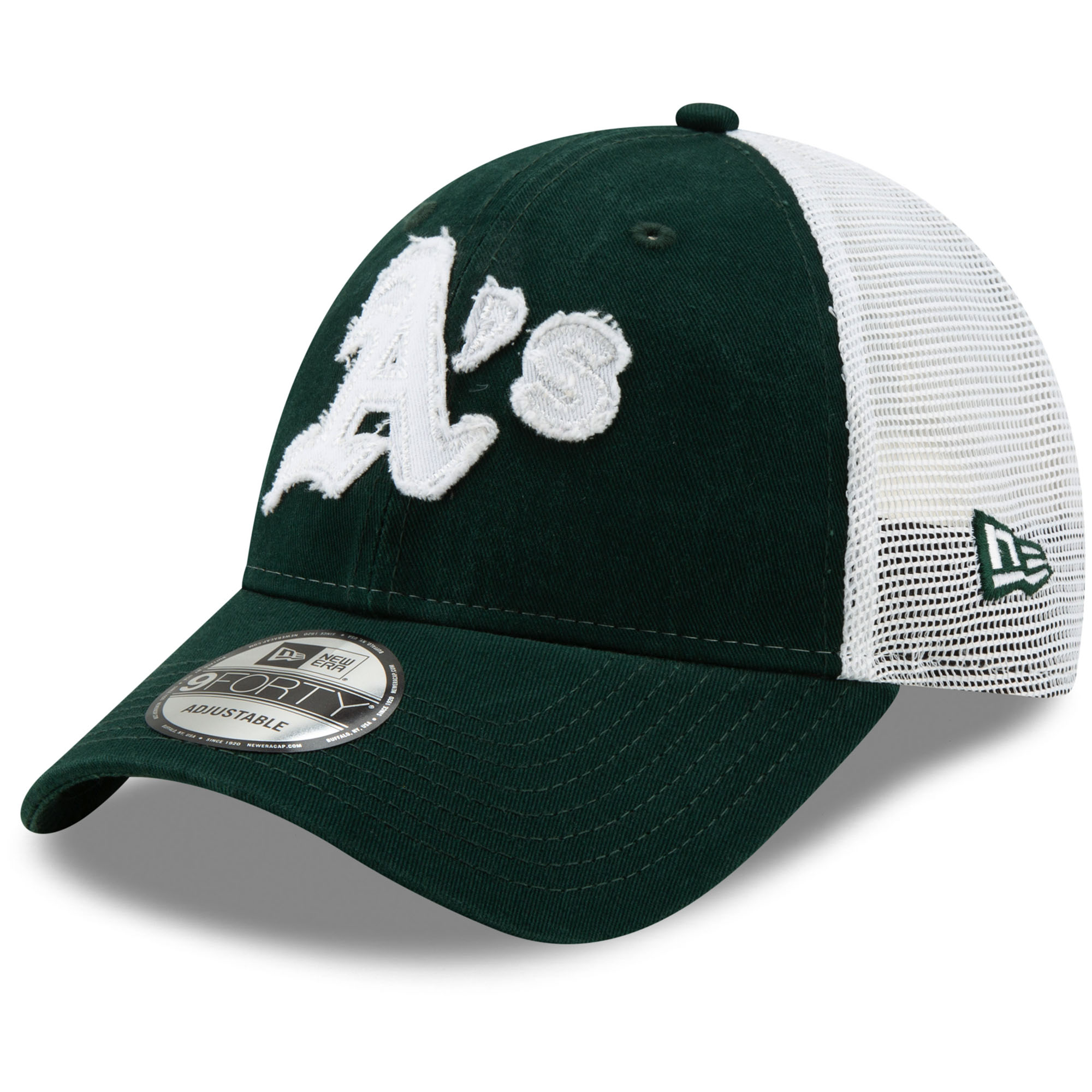 Oakland Athletics New Era Team Truckered 9FORTY Adjustable Hat - Green/White - OSFA