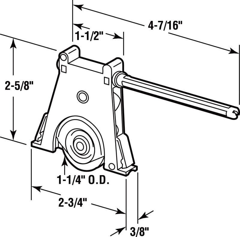 """Prime-Line Screen Door Roller Assembly 1-1/4"""" Plastic Nylon Roller"""
