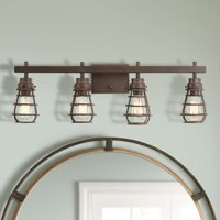 """Franklin Iron Works Industrial Rustic Wall Light LED Oiled Bronze Cage Hardwired 31"""" Wide 4-Light Fixture Bathroom Vanity"""