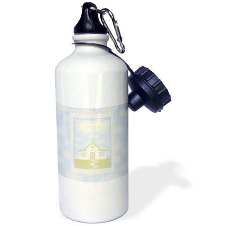 3dRose Pure Church with Clouds in Pastel Blue, Green, and Cream, Sports Water Bottle, 21oz ()