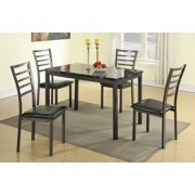 Modern Small Dining Room Furniture Marble Top Table 5pc Set Faux Leather Seat Chairs Black Color Dining Set