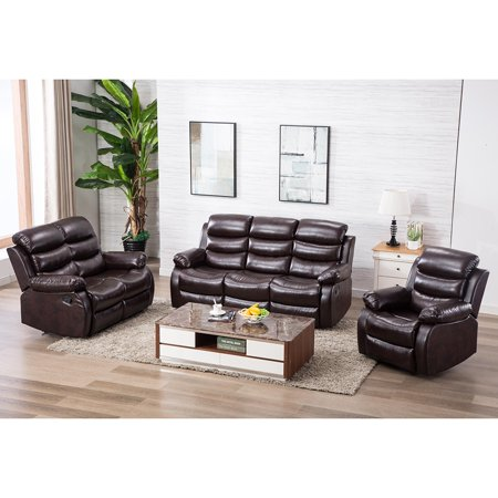 JRFOTOO Leather Recliner Sofa Set 3 PCS Motion Sofa Loveseat Recliner  Leather Sofa Recliner Couch Manual Reclining Chair 3 Seater for Living Room