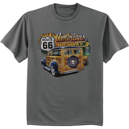 Woodie Car Rt 66 Dad Old Dude Guy Gifts T-shirt Men's Graphic Tee (Old Dudes Rule T Shirt)