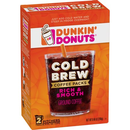 Dunkin' Donuts Cold Brew Coffee Packs, Smooth & Rich Ground Coffee, 8.46-Ounce - Halloween Donuts Dunkin