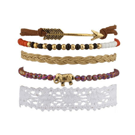 Fabric Jewelry - Lux Accessories Elephant Arrow Tribal Fabric Woven Beaded Arm Candy Bracelet Set