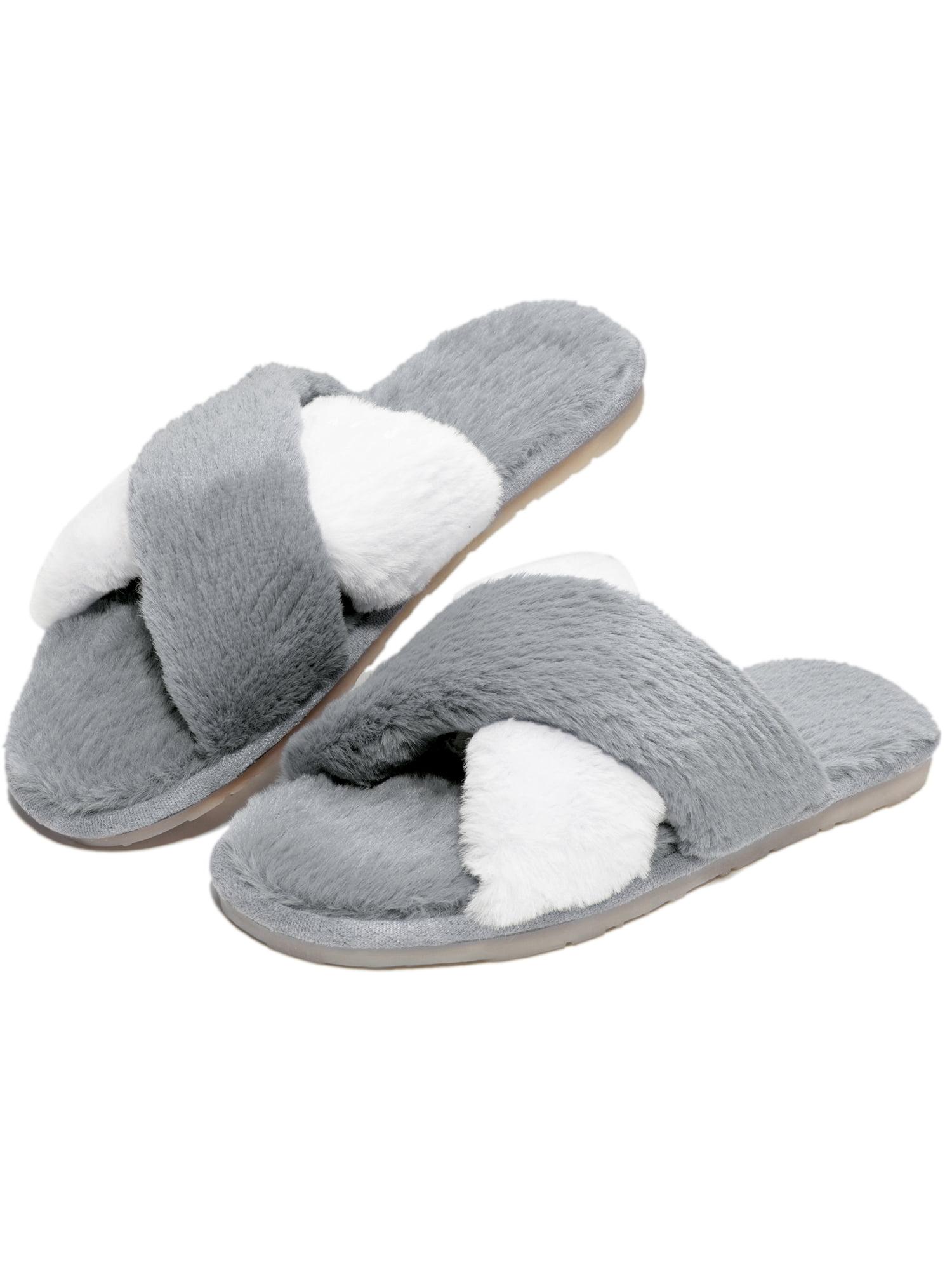 Cozy Fuzzy Slippers for Women Open Toe