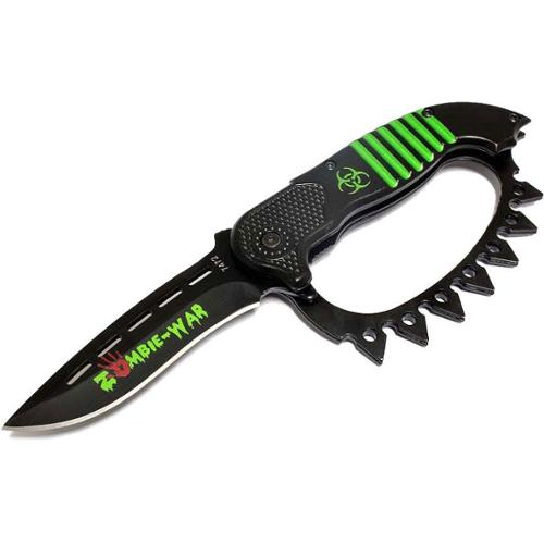 "Defender 8.5"" Zombie War Green Red or Yellow Spring Assisted Knife with Belt Clip"