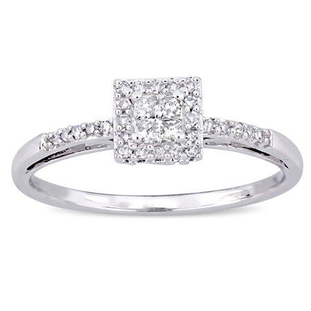 1/5 Carat T.W. Princess and Round-Cut Diamond 10kt White Gold Halo Engagement -