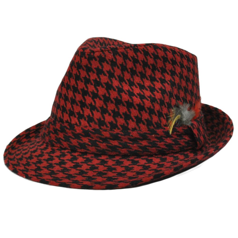 RED BLACK FEATHER FEDORA TRILBY HAT SMALL MEDIUM
