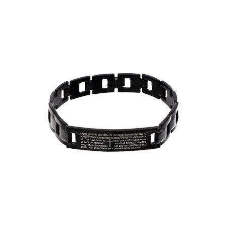 Prayer Bracelets (Reinforcements Men's Black-Tone Stainless Steel Center ID Plate with Prayer Open Link)