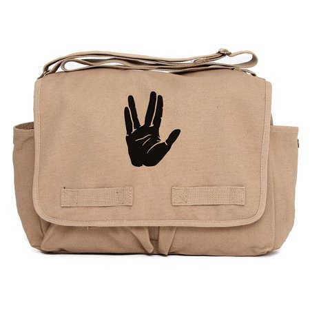Star Trek Live Long and Prosper Hand Army Canvas Messenger Shoulder