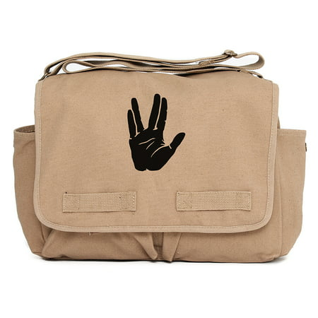 Star Trek Live Long and Prosper Hand Army Canvas Messenger Shoulder Bag