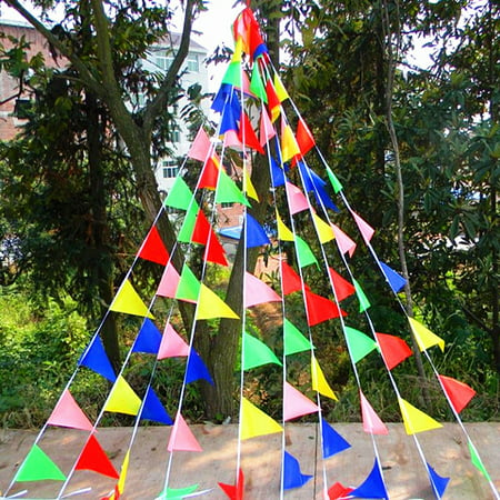 Moaere 125 Feet Pennant Streamers Multi-Colored Flag Triangle String Banner Nylon Buntings Decor for Grand Openings Birthday Parties Picnics Festival or Any Celebration Events - Coloured Streamers