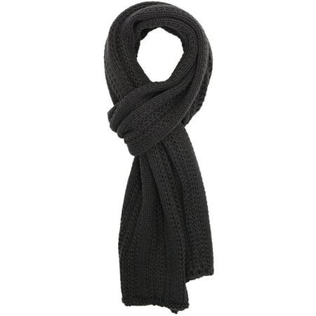 Simplicity Men / Women Solid Color Cable Stripe Knit Winter Fall Scarf Dark Grey ()